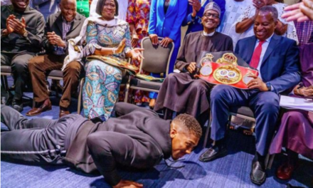 Anthony Joshua Earns Praises for Prostrating to Greet President Buhari