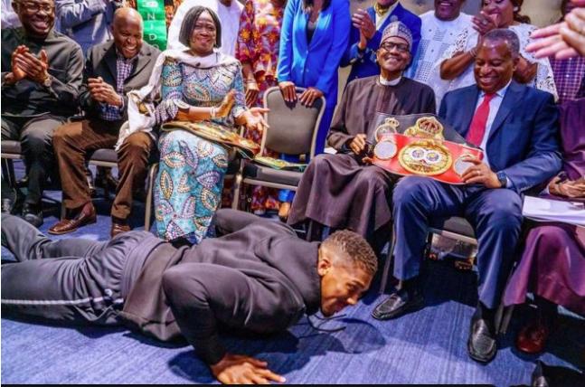 Anthony Joshua Earns Praises for Prostrating to Greet President Buhari